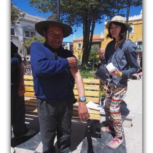 ボリビアできっこと同じ服装の人を発見!(笑) 血圧測定サービスも!